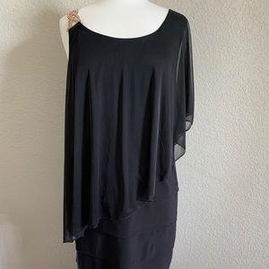 Luxe II One Shoulder Black Dress
